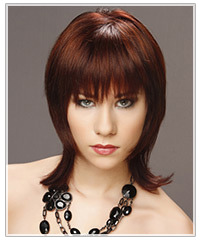 Model with medium length red hair